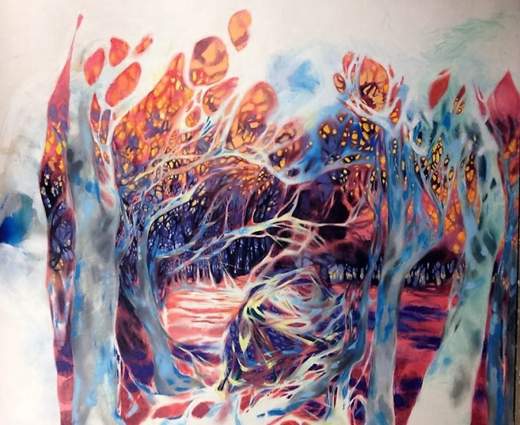 Lisa Rachel Horlander, Entangled Oasis, 10x8 ft, oil on canvas
