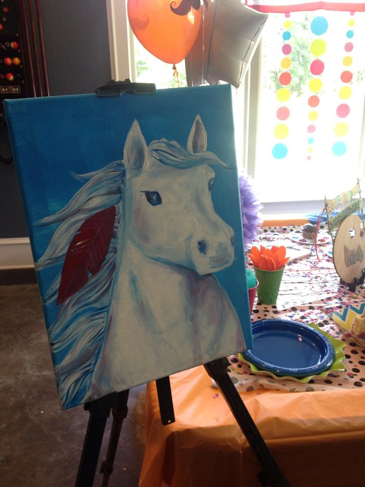 birthday painting party horse painting in a dark to light technique