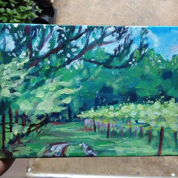 Winery, 4x6 in, acrylic on canvas -sold