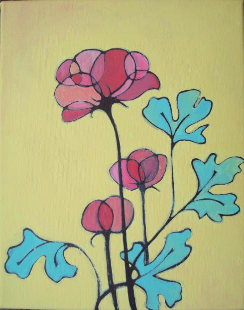 Lisa Horlander-pink blooms-6inx4in-2011-mom