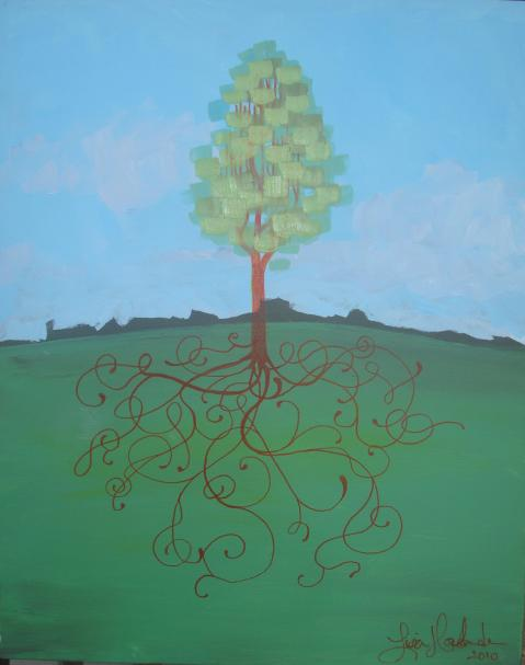 Lisa Horlander-Rooted-16x20in-acrylic and marker-2010