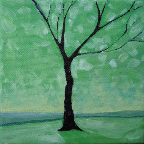 Lisa Rachel Horlander-Green Leaves-5x5x1in-acrylic and marker-2011