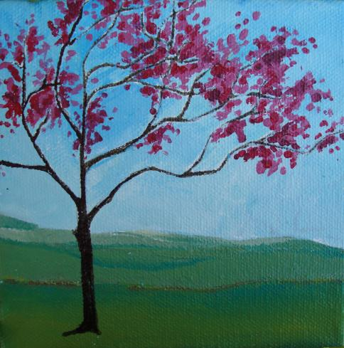 Lisa Rachel Horlander-Red Bud-5x5x1in-acrylic and marker-2011