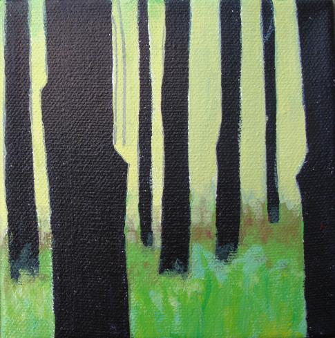 Lisa Rachel Horlander-Tall Trunks-5x5x1in-acrylic and marker-2011