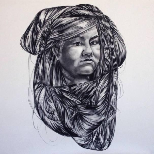 Self Portrait-3 x3 ft-charcoal on paper