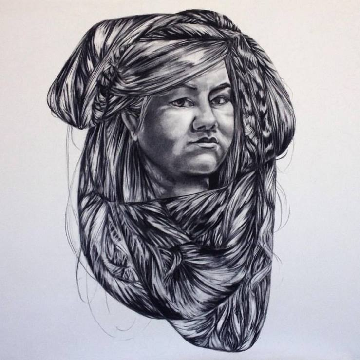 Self Portrait-3 x3 ft-charcoal on paper