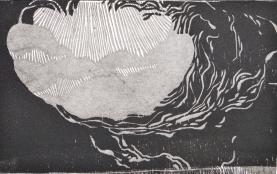 Amorphic Mood- wood block print- 4x6 in-$30