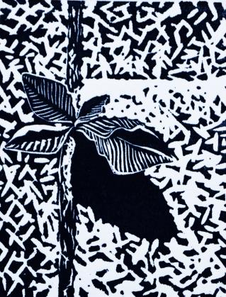 Ingrown- linoleum print