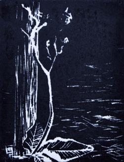 Isolation- linoleum print