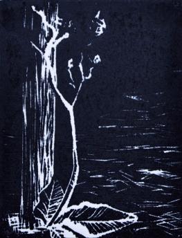 Isolation- linoleum print-4x3 in-$25