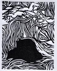 Line and Movement- linoleum print- 4x3 in-$25