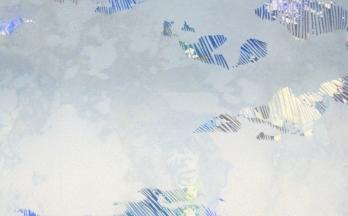 Around 5pm in April- linoleum print on monoprint- 5x8 in-$30