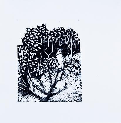 Singular Crescendo- linoleum print
