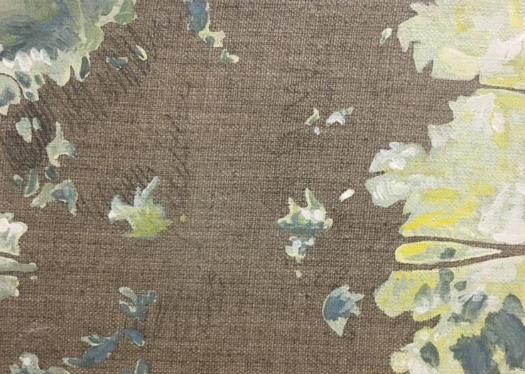 In Between the Line-gouache on linen panel-5x7in